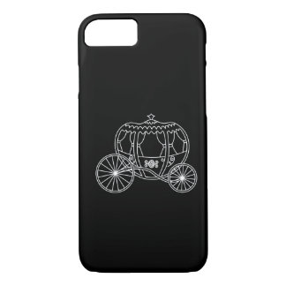 Princess Carriage, White on Black. iPhone 8/7 Case