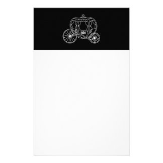 Princess Carriage, White on Black. Stationery