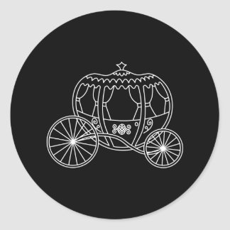 Princess Carriage, White on Black. Round Stickers