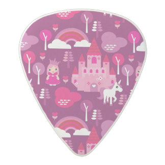 princess castle and unicorn rainbow acetal guitar pick