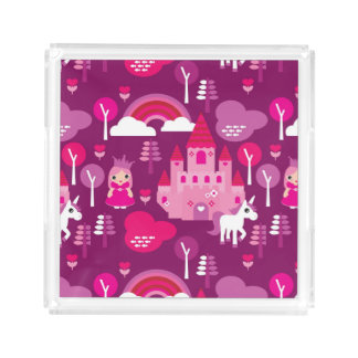 princess castle and unicorn rainbow acrylic tray