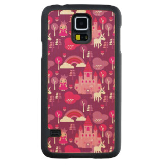 princess castle and unicorn rainbow carved maple galaxy s5 case