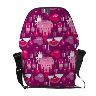 princess castle and unicorn rainbow courier bags