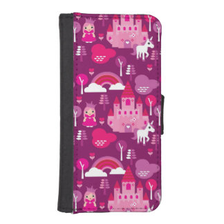 princess castle and unicorn rainbow iPhone SE/5/5s wallet case
