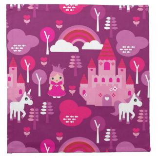 princess castle and unicorn rainbow napkin
