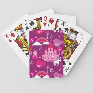 princess castle and unicorn rainbow playing cards