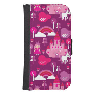 princess castle and unicorn rainbow samsung s4 wallet case