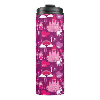 princess castle and unicorn rainbow thermal tumbler