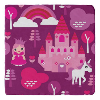 princess castle and unicorn rainbow trivet