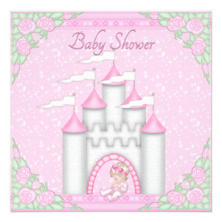 Princess Castle Baby and Roses Pink Baby Shower Personalized Announcements
