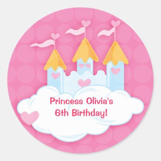 Princess Castle Custom Birthday Favour Stickers