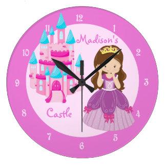 Princess Castle Custom Pink Clock