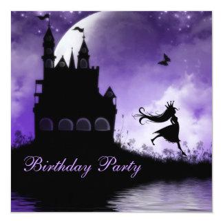 Princess & Castle Girls Purple Birthday Party 13 Cm X 13 Cm Square Invitation Card