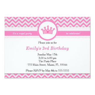 Princess Chevron Pink Girl Birthday Invitation
