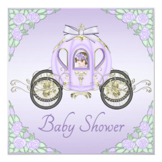 Princess Coach and Roses Lilac Baby Shower Personalized Invitation