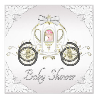 Princess Coach and Roses White Baby Shower Personalized Invitation