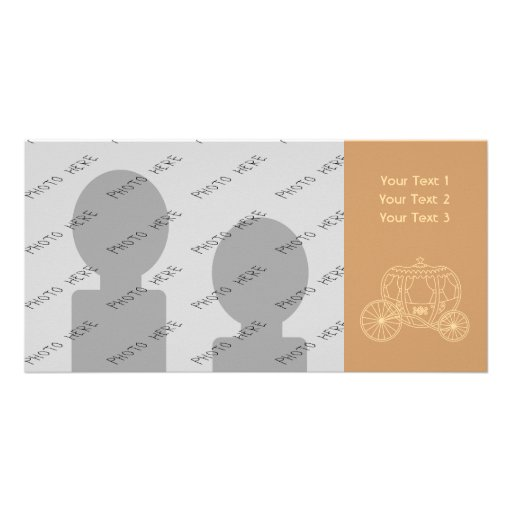 Princess Coach Design in Brown and Tan. Photo Card Template