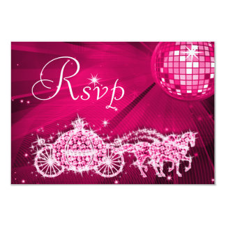 Princess Coach & Horses & Disco Ball RSVP 9 Cm X 13 Cm Invitation Card