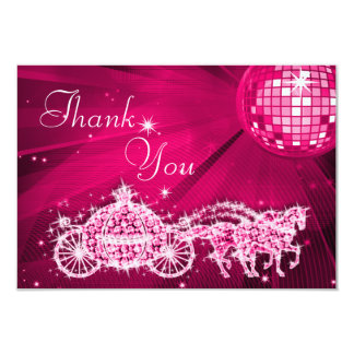 Princess Coach & Horses & Disco Ball Thank You 9 Cm X 13 Cm Invitation Card