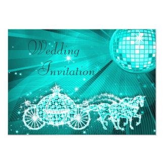 "Princess Coach, Horses & Disco Ball Wedding 5"" X 7"" Invitation Card"