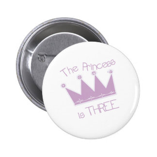 Princess Crown 3rd Birthday 6 Cm Round Badge