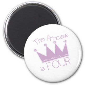 Princess Crown 4th Birthday 6 Cm Round Magnet