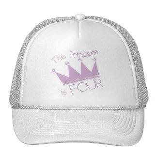 Princess Crown 4th Birthday Tshirts Cap