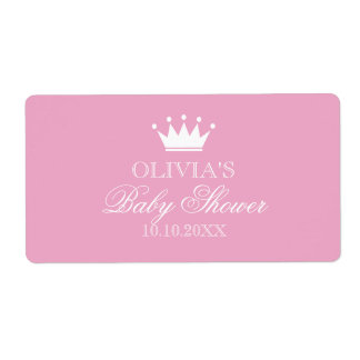 Princess crown baby shower water bottle stickers