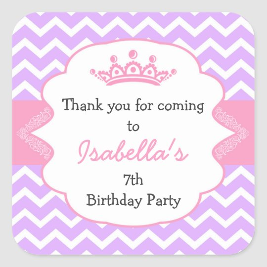 Princess Crown Birthday party favour stickers