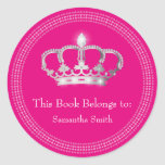 Princess Crown book label Round Sticker