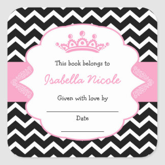Princess Crown Bookplates / girl baby shower Square Sticker
