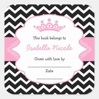 Princess Crown Bookplates / girl baby shower Square Sticker