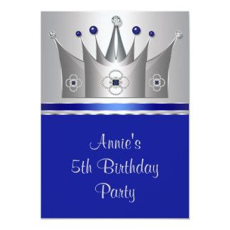"Princess Crown Girls 5th Birthday Party 5"" X 7"" Invitation Card"