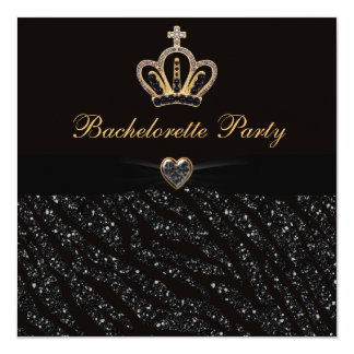 Princess Crown Heart & Zebra Glitter Bachelorette 13 Cm X 13 Cm Square Invitation Card