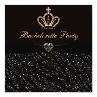 Princess Crown Heart & Zebra Glitter Bachelorette 5.25x5.25 Square Paper Invitation Card
