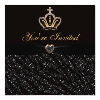 Princess Crown, Heart & Zebra Glitter Birthday 13 Cm X 13 Cm Square Invitation Card