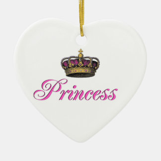 Princess crown in hot pink christmas ornament
