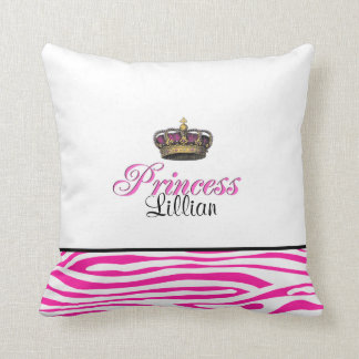Princess crown in hot pink cushion