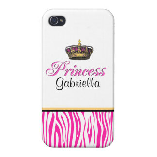 Princess crown in hot pink iPhone 4 cases