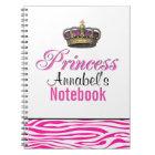 Princess crown in hot pink notebook