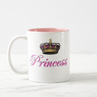 Princess crown in hot pink Two-Tone coffee mug