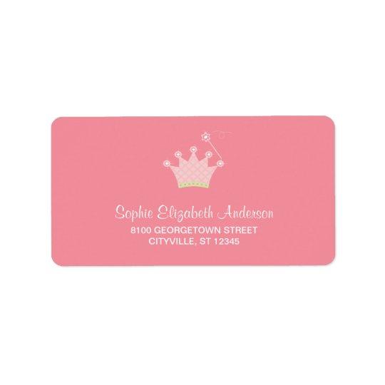 Princess Crown Kids Address Label