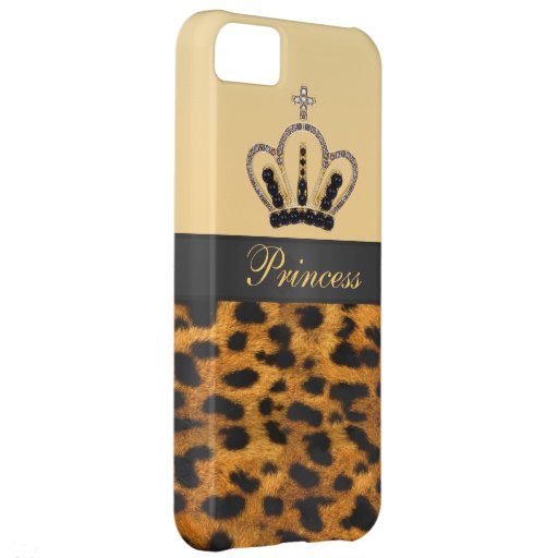 Princess Crown Leopard Fur Photo Cover For iPhone 5C