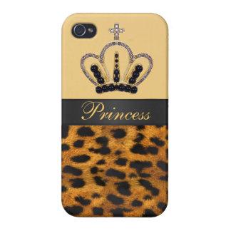 Princess Crown Leopard Fur Photo Cases For iPhone 4