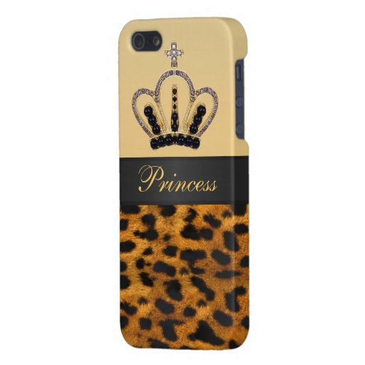 Princess Crown Leopard Fur Photo Covers For iPhone 5