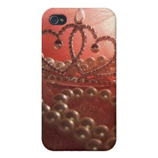Princess Crown Pearls Pink iPhone 4 Case