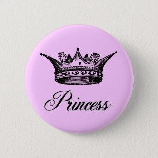 Princess Crown Pink Pin Back Button