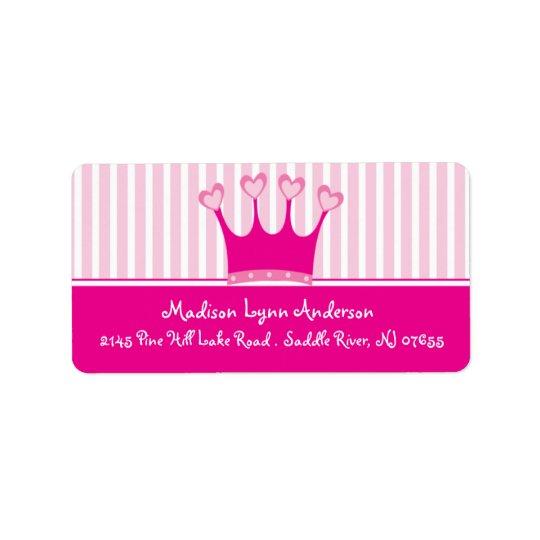 Princess Crown Return Address Labels. Address Label