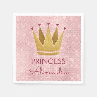 Princess Crown Rose Gold Blush Pink Sparkle Disposable Serviette