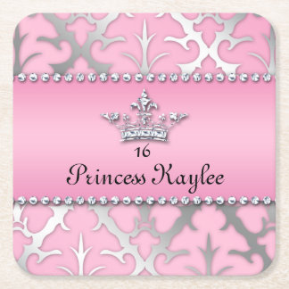 Princess Crown Sweet 16 Quinceanera Damask Coaster